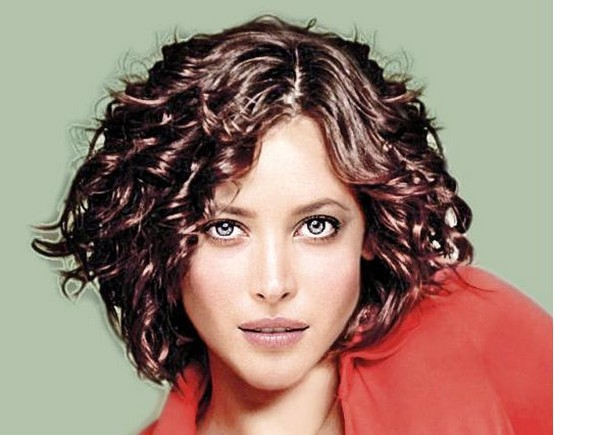 Glam Long Side Bang Hairstyle with Short Wavy Hair for Women from Angelina
