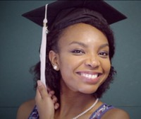2015 African American graduation hairstyle with cute small curls and pretty graduation cap