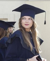2015 graduation long hairstyle with straight hair and fancy graduation cap and graduation grown