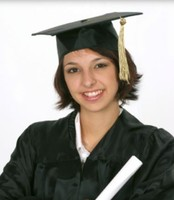 Short graduation hairstyle with spikes and graduation cap and gown pictures