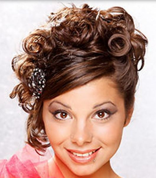 Fancy Prom Hairstyle With Curls And And Long Straight Swept ...