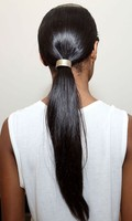 Sleek low ponytail is a perfect and easy prom hairstyle