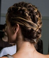 Triple French braided chignon prom hairstyles photos