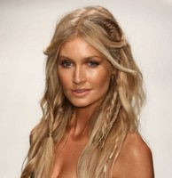 Wavy long hair with baby braids and long side bangs