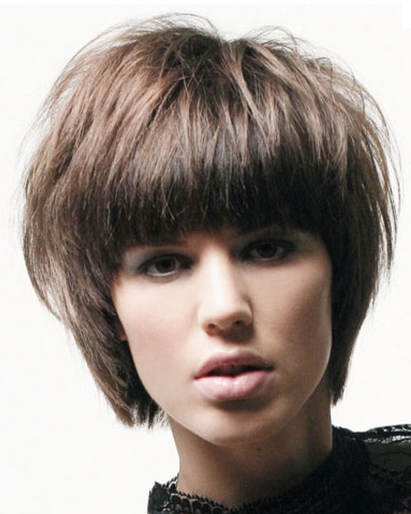 Women Short Hairstyles With Long Straight Bangs Png
