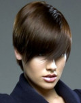 Cool boyish hairstyle for women with long bangs
