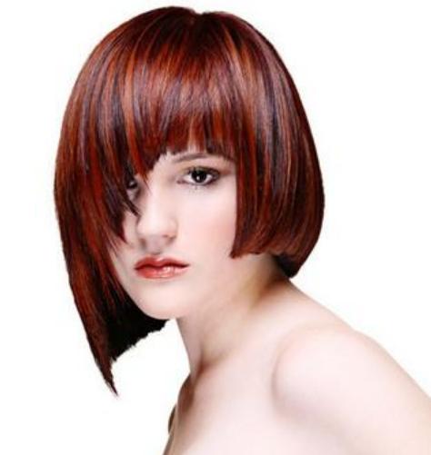 cool women bob hairstyle with very long bangs cool women