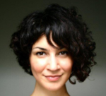 Curly asymmetrical bob hairstyle pictures with cute straight bang