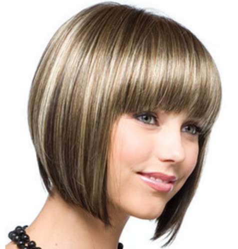 Pleasant Cute Bob Hairstyle With Fringed Bang Hairstyles For Women Draintrainus