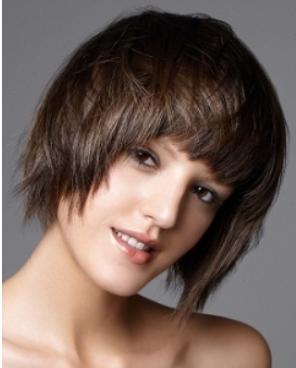 Fabulous Groovy Bob Hairstyle With Long Bangs And Brown Hair Short Hairstyles For Black Women Fulllsitofus