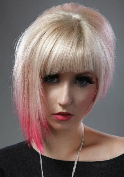 Ice Blonde Asymmetrical Bob With Pink Highlights