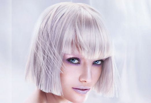 Icy Greyish Blonde With Sharp Bob Hairstyle With Long Bangs