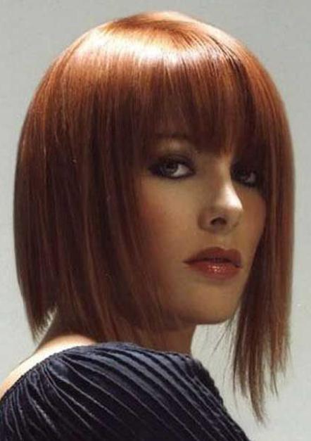 Medium long asymmetrical bob in red hair picture