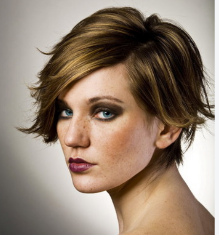 Modern women short haircuts with full of layers and long swept bangs