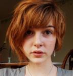 Red hair short asymmetrical