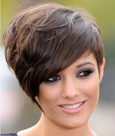 Short women haircut with long side bangs picture