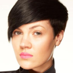 Very short asymmetrical hairstyle with very long side bang