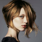 Wavy asymmetrical bob with very long bangs