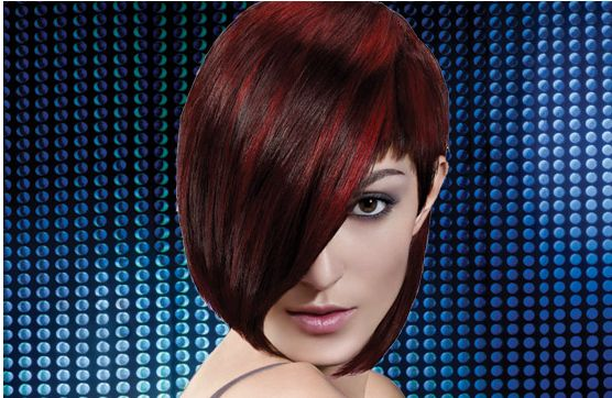 two toned hairstyles. Woman Short Haircut With Bob Style With Long Bang Two Toned Red Hair