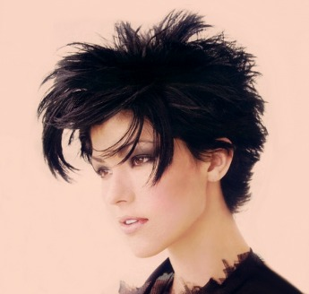 Very Short Spiky Amp Layered Hair Style With Very Long Bangs