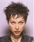 Short hairstyle with spicky & layers, brunette