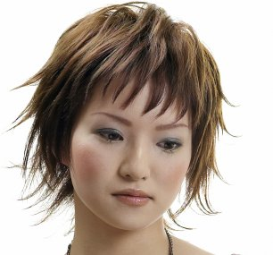 Short Hair Style Layers Wispy Brunette