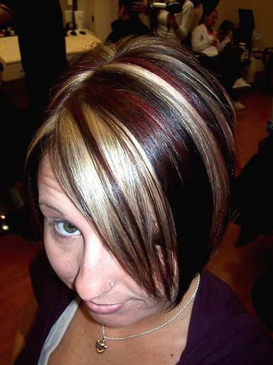 short medium hairstyle with highlights.jpg picture