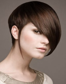 short women hairstyle with long side bangs picture