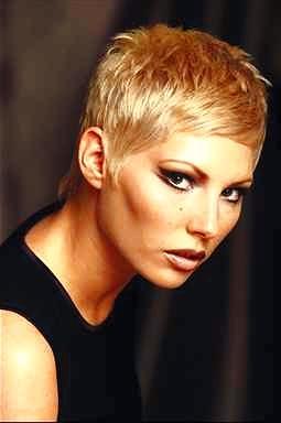 Very Short Hairstyle Gel Blonde