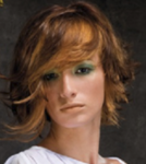 Wavy asymmetrical bob with two toned hair