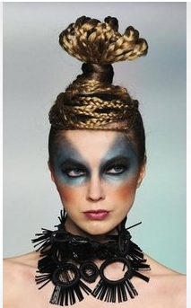 Cool and funky hairstyle in Indonesian designer Ali Charisma's collection at the 'La Mer' fashion parade in Hong Kong.PNG