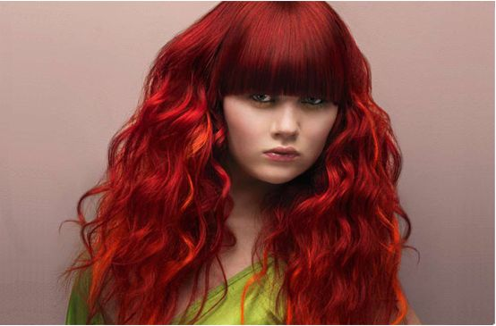 Amazing Curly Red Trendy Hairstyle With Long Bang Photo Hairstyles For Women Draintrainus