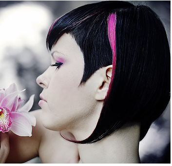 Funky women bob hairstyle in black hair and bright pink highlights.
