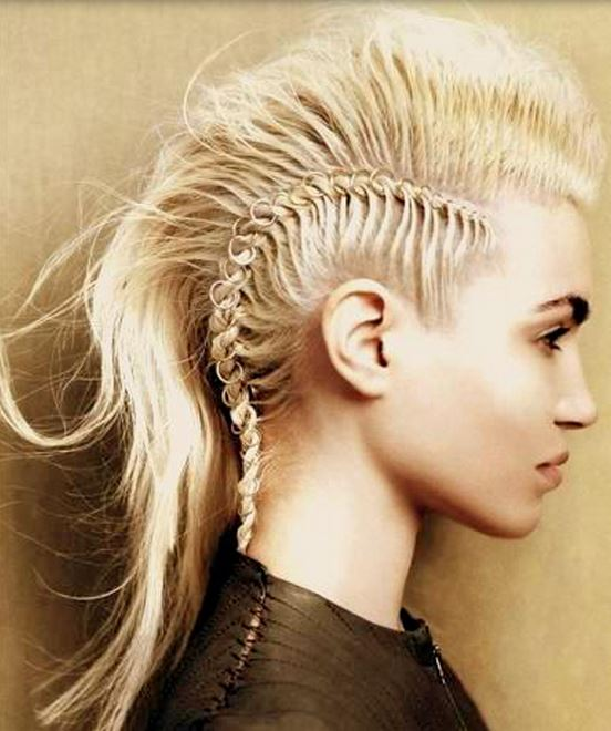 Girl Hairstyle Mohawk: Girl Mohawk Hairstyle With Long Blonde Hair Length