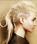 Girl mohawk hairstyle with long blonde hair length