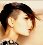 Latest women undercut hair with long spiky bang with highlights