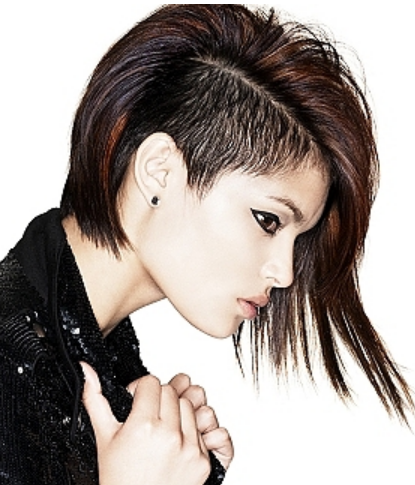 haircut short on one side long on the other punkish women hairstyle with very long on one side and