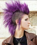 Purple female punk hairstyle with very long hair length