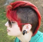 Red punkish undercut hair for girls