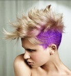 Short Mohawk Hairstyles for Women with purple hair color