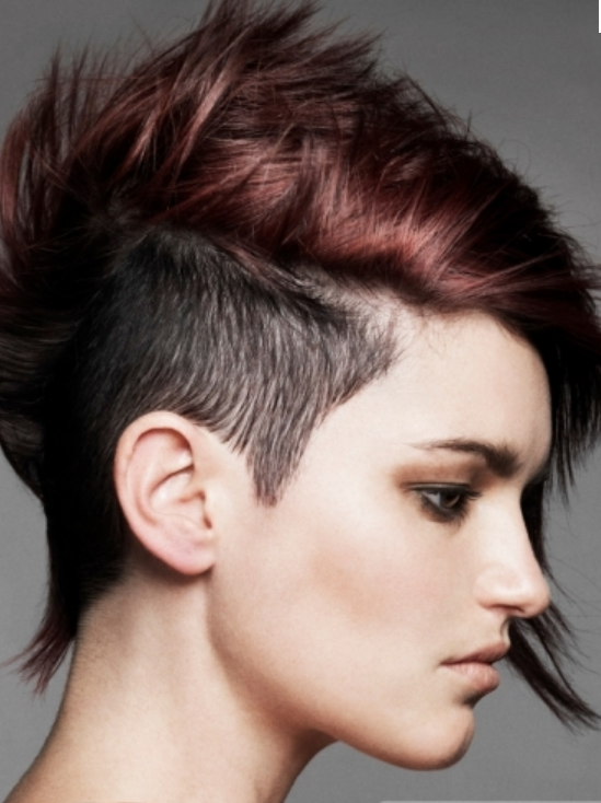 Trendy Punky Women Hairstyle With Extrem Short Hair Length On The