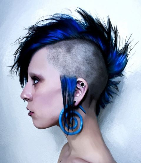 Unique Mohawk Punk Women Hairstyle With Blue Hair Color