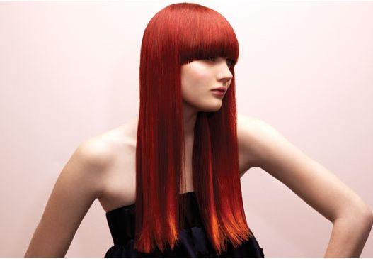 Very Long Modern Woman Hairstyle With Long Bang, Straight Hair In Red