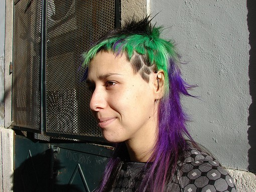 colorful punk funky hairstyle for women.jpg photo