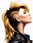 Punk women hair with unique braids