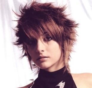 women medium short spiky haircut with long layered bangs
