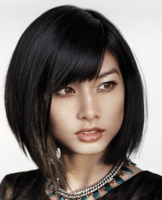 Asian Asymmetrical bob with layers and highights with long bang