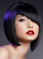 Asian  asymmetrical bob and purple highlights and unique bang