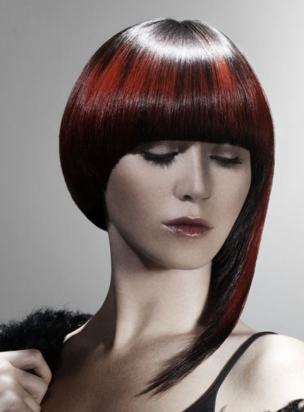 Asymmetrical Bob Black And Red Highlights With Large Fringed Bang