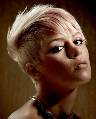 Blond Hair Women With Very Short Length Hair With Very Short In The Back And Long